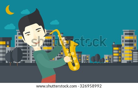 An asian musician playing saxophone in the streets at night vector flat design illustration. Horizontal layout with a text space. - stock vector