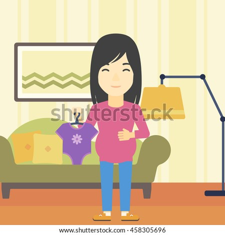 An asian pregnant woman holding clothes for her baby. Pregnant woman with bodysuit for baby. Pregnant woman with presents at baby shower. Vector flat design illustration. Square layout.