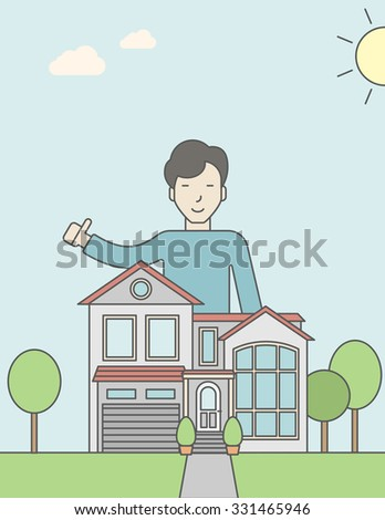 An asian real estate agent standing behind the house with thumbs up. Vector line design illustration. Vertical layout with a text space for a social media post.