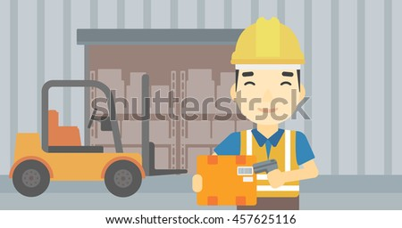 An asian warehouse worker scanning barcode on box. Warehouse worker checking barcode of box with a scanner. Man in hard hat with scanner. Vector flat design illustration. Horizontal layout. - stock vector