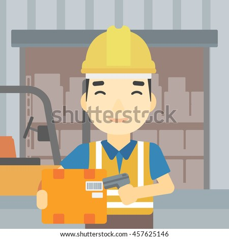 An asian warehouse worker scanning barcode on box. Warehouse worker checking barcode of box with a scanner. Man in hard hat with scanner. Vector flat design illustration. Square layout. - stock vector