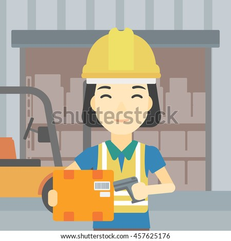 An asian warehouse worker scanning barcode on box. Warehouse worker checking barcode of box with a scanner. Woman in hard hat with scanner. Vector flat design illustration. Square layout. - stock vector