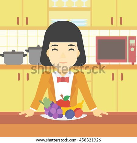 An asian woman standing in front of table full of fresh fruits in the kitchen. Woman with plate full of fruits. Healthy food concept. Vector flat design illustration. Square layout. - stock vector