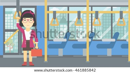 An asian woman traveling by public transport. Young woman standing inside public transport. Woman traveling by passenger bus or subway. Vector flat design illustration. Horizontal layout.