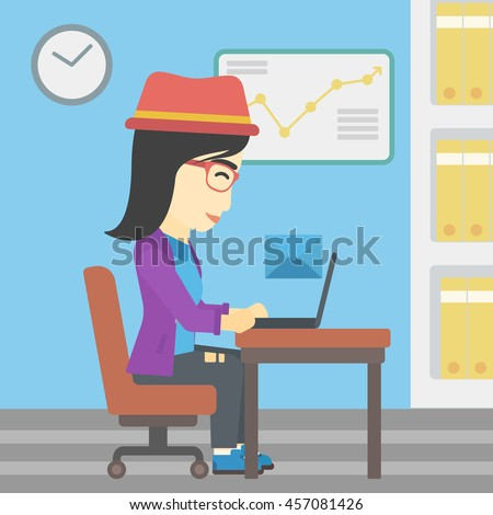 An asian  young business woman working on her laptop in office and receiving or sending email. Business technology, email concept. Vector flat design illustration. Square layout. - stock vector