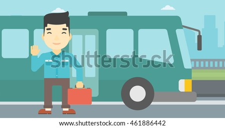 An asian young man standing at the entrance door of a bus on a city background. Young man waving in front of a bus. Vector flat design illustration. Horizontal  layout.