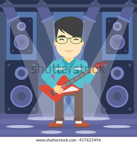 An asian young musician playing electric guitar on the stage of nightclub. Man practicing in playing guitar. Guitarist playing music. Vector flat design illustration. Square layout. - stock vector