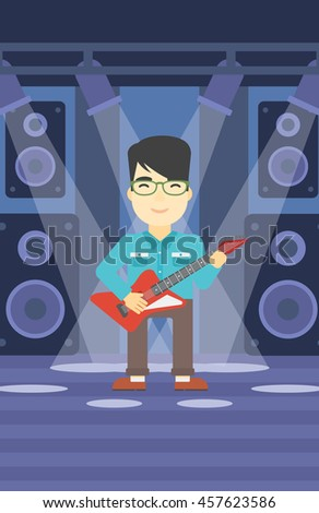 An asian young musician playing electric guitar on the stage of nightclub. Man practicing in playing guitar. Guitarist playing music. Vector flat design illustration. Vertical layout. - stock vector