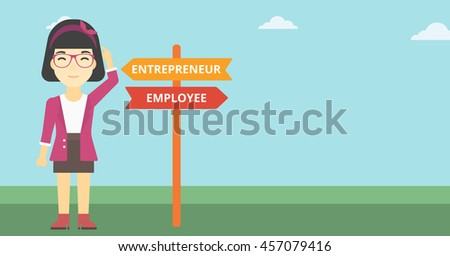 An asian young woman standing at road sign with two career pathways. Woman choosing career pathway. Woman making a decision of her career pathway. Vector flat design illustration. Horizontal layout. - stock vector