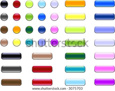 An assortment of glass/gel buttons that can be used on websites or for print - stock vector