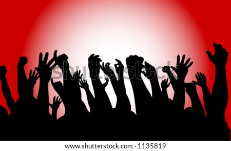 An audience waves their hands and applauds - stock vector