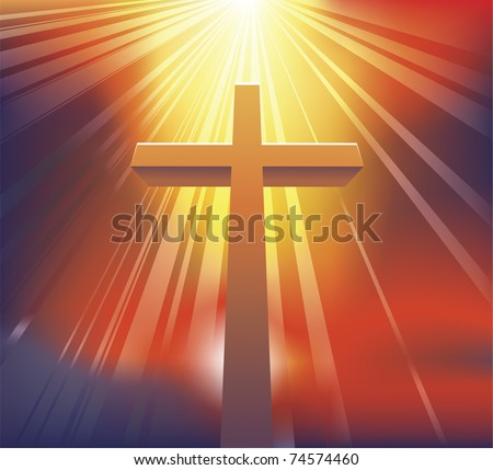 An awesome dramatic Christian cross bathed in light