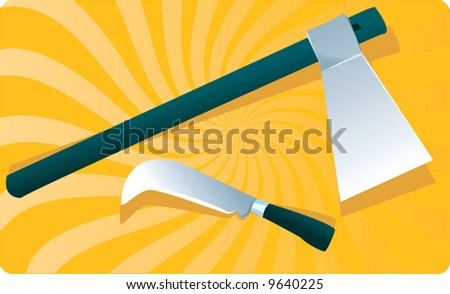 An axe and knife in yellow surface	 - stock vector