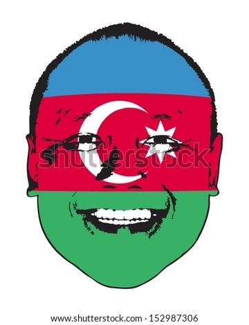 An Azerbaijan flag on a face, isolated against white.  - stock vector