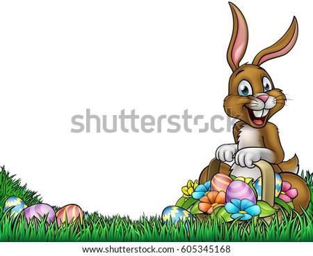 Easter Background Frame Border Cartoon Bunny Stock Vector 605345168 ...