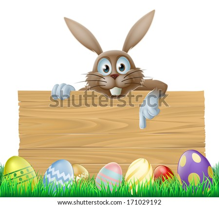 An Easter bunny wooden sign with painted Easter eggs