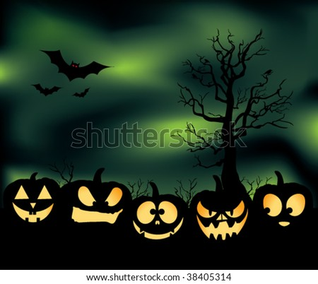 An eerie pumpkin patch with jack-o-lanterns, bats, crows, and a green cloudy haze. - stock vector