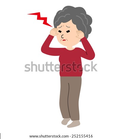An elderly woman suffering from a headache, vector illustration - stock vector