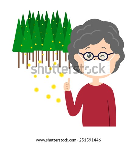 An elderly woman winking with a mask and glasses on, allergy caused by cedar pollen, vector illustration - stock vector