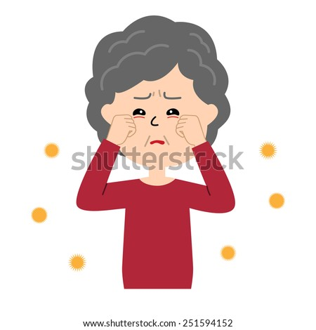 An elderly woman with itchy eyes, allergen flowing in the air, vector illustration - stock vector