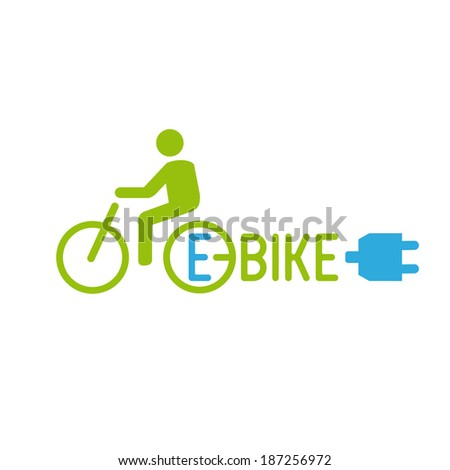 An electric bicycle, also known as an e-bike, is a bicycle with an integrated electric motor which can be used for propulsion. Graphic mark green and blue - stock vector