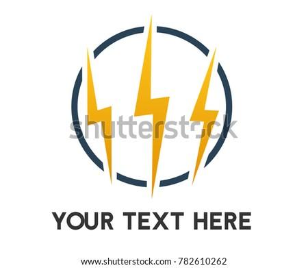 electricity logo 3 lightning bolts overlayed stock vector royalty