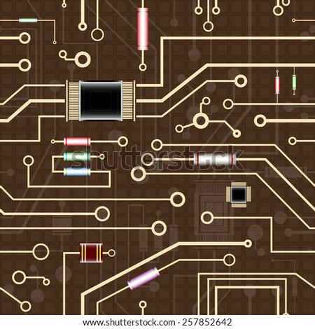 an electronic circuit, seamless background, vector illustration - stock vector