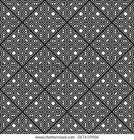 An elegant black and white vector pattern, geometric square tiles