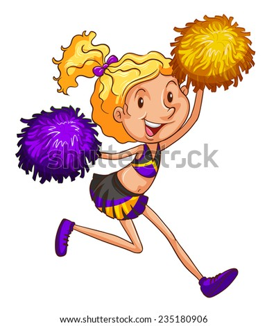 An energetic cheerleader on a white background  - stock vector
