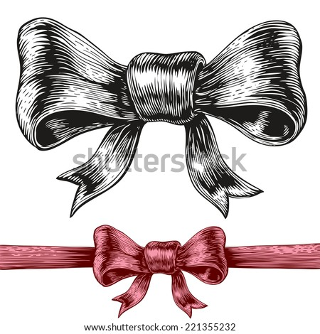 An engraving style drawing of a bow. Eps8. CMYK. Global colors. Gradients free. - stock vector