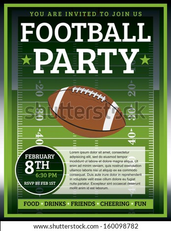 An EPS 10 flyer design perfect for tailgate parties, football invites, etc. File contains transparencies. Text elements are layered for easy removal and customizing of your copy. - stock vector