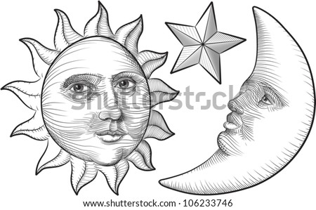 An etched-style cartoon illustration of a sun, moon, and star with human faces. Outlines are solid black with a transparent background for easy re-coloring.