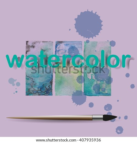 an example of mixing watercolors in three versions /art brush - stock vector