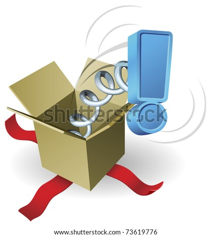 An exclamation mark springing out of a box conceptual illustration. - stock vector