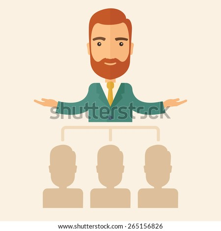 An executive good looking and happy  Caucasian with beard explaining and presenting a business marketing plans to his employees in front of him inside the training room. Planning a business concept.  - stock vector