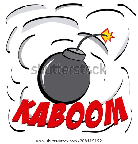 an explosion comic expression with a bomb and smoke
