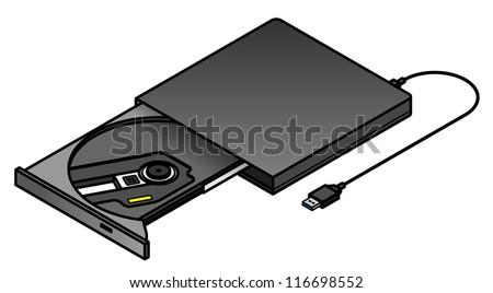 An external USB tray loading optical drive. - stock vector