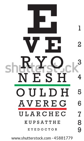 An eye chart with a hidden message that reads EVERYONE SHOULD HAVE REGULAR CHECKUPS AT THE EYE DOCTOR. - stock vector