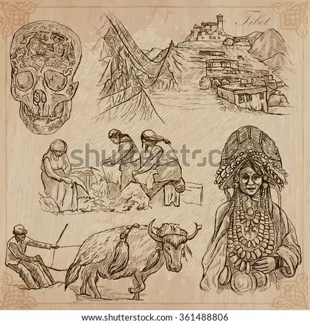 An hand drawn collection, Travel, TIBET, Pictures of Life. Description - Vectors, freehand sketching. Editable in layers and groups. Background is isolated. All things are named inside the vector pack