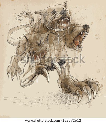 An hand-drawn illustrations (converted into vector - 4 layers) in ancient Greek myths and legends:CERBERUS (in Greek and Roman mythology is a three headed dog which guards the gates of the Underworld) - stock vector