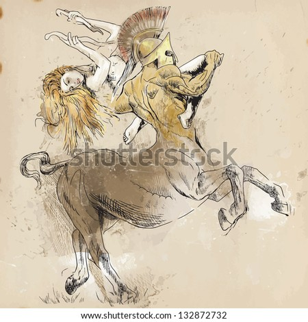 An hand-drawn illustrations (converted into vector - 6 layers) in ancient Greek myths and legends: CENTAUR and NYMPH (In Greek mythology, a centaur is a member of a composite race of creatures.) - stock vector