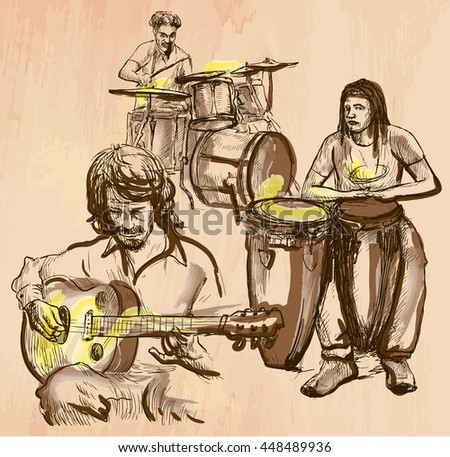An hand drawn vector - MUSIC BAND, guitar player and drummers - colored line art. Vector is editable in groups and layers - freehand sketching. - stock vector