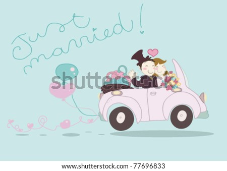 An happy just married couple driving funny car. - stock vector