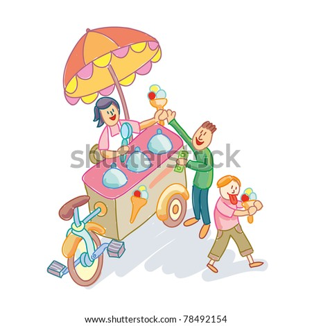 An Ice Cream outdoor seller with clients - stock vector