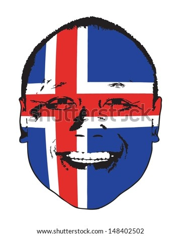 An Iceland flag on a face, isolated against white.  - stock vector