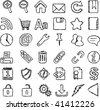 An iconset with web related symbols as drawn by hand with a pen - stock vector