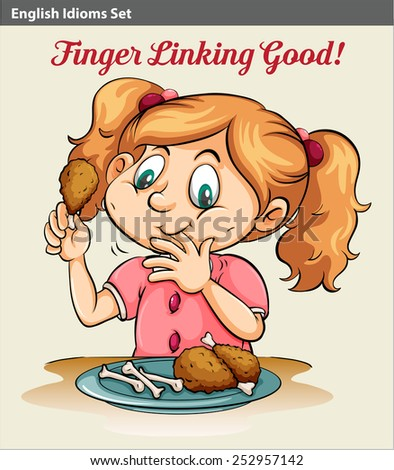 An idiom showing a girl eating - stock vector