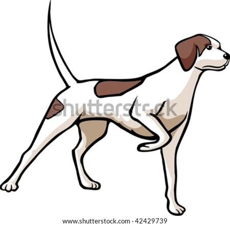 An illustrated hunting dog.