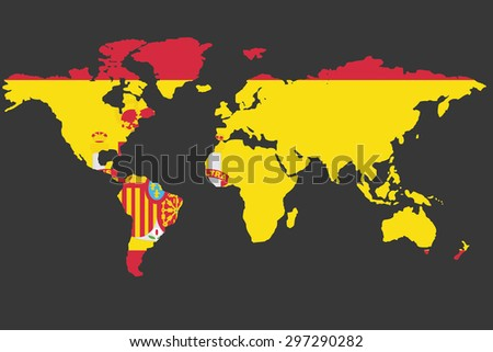An Illustrated Map of the world with the flag of Spain - stock vector
