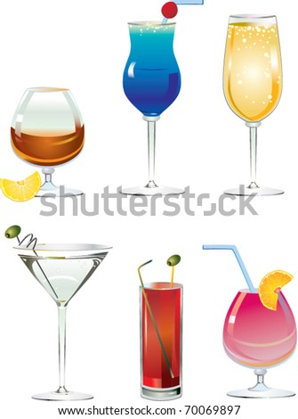 An illustrated set of fancy drink cocktails isolated on white - stock vector